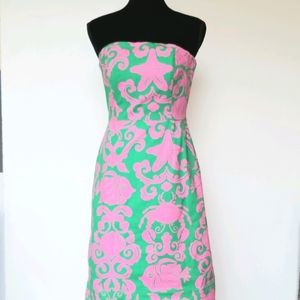 Lilly Pulitzer Pink and Green Strapless Dress